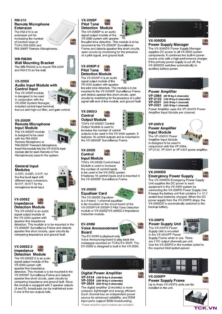 Thiết bị chính của hệ thống âm thanh ma trận vx-2000