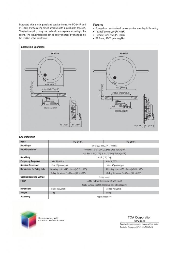 pc-648r thông số kỹ thuật kích thước loa âm trần