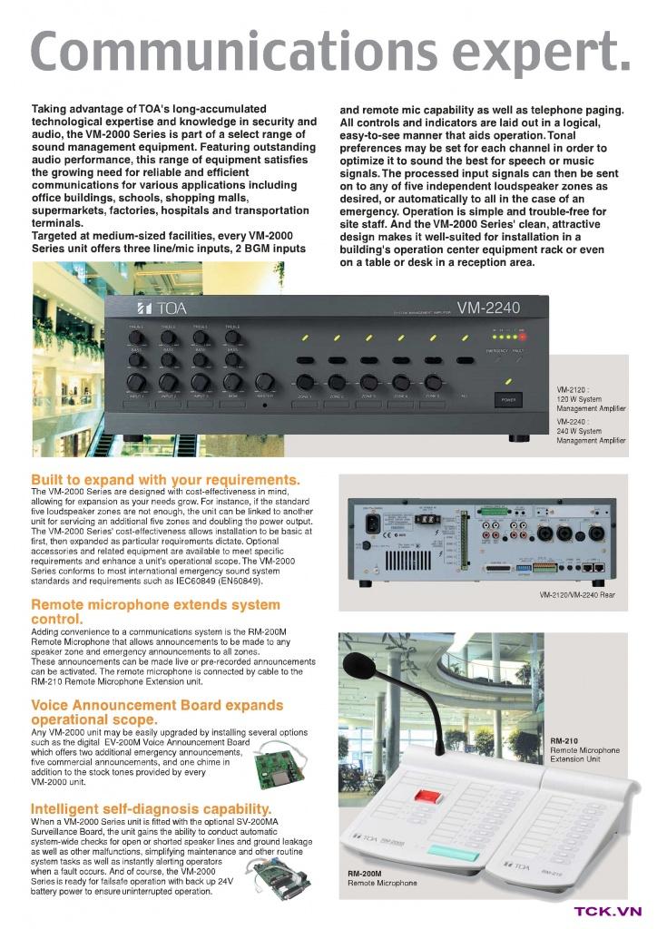 vm-2240_hệ thống âm thanh công cộng, phát thanh trung tâm